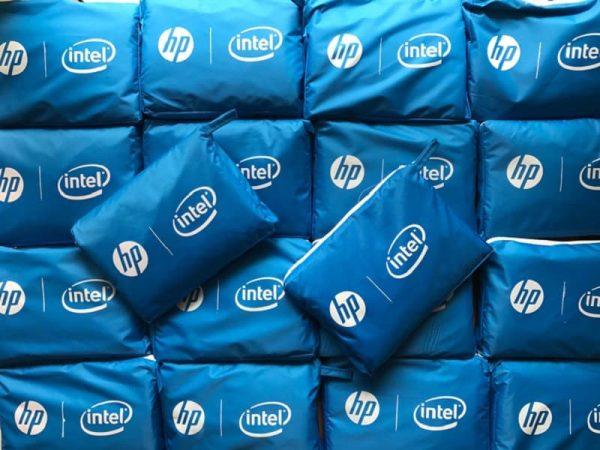 Áo mưa in logo khách hàng HP Intel