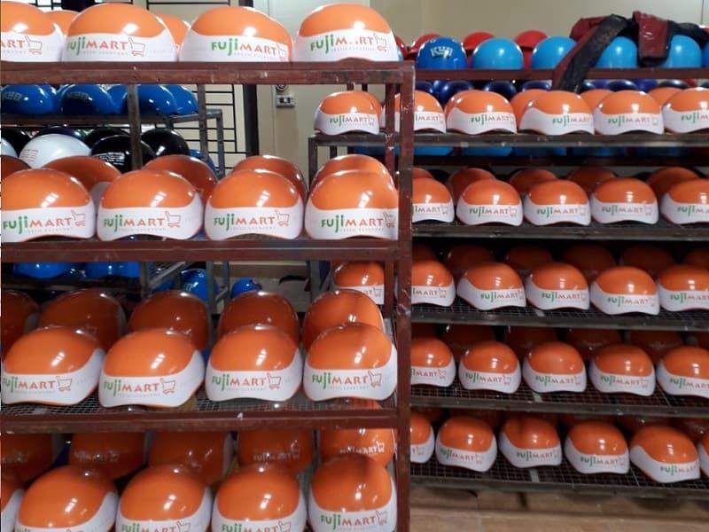 Mũ bảo hiểm in logo khách hàng Fujimart