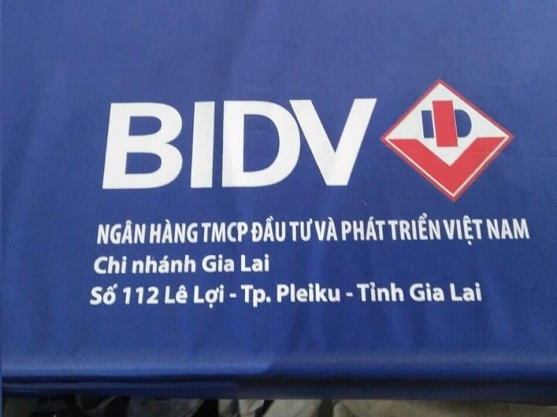 Áo mưa in logo khách hàng BIDV Gia Lai